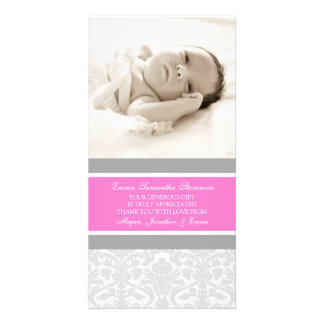 Pink Grey Thank You Baby Shower Photo Cards
