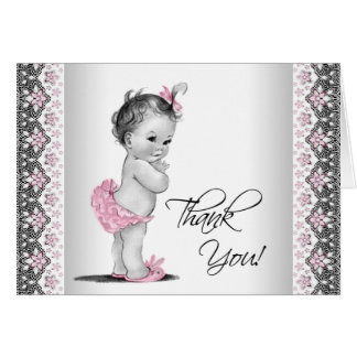 Pink Grey Vintage Baby Shower Thank You Card