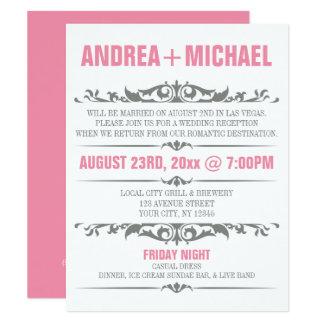 Pink & Grey Wedding Reception ONLY Invitations