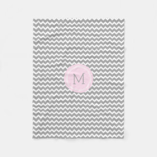 Pink Grey White Chevron Pattern Monogram Blanket Fleece Blanket
