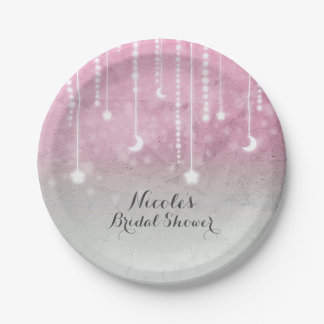 Pink Grey White Moon & Stars Celestial Baby Shower Paper Plate