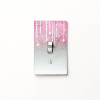 Pink Grey White Moon & Stars Celestial Girls Light Switch Cover
