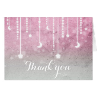 Pink Grey White Moon & Stars Celestial Thank You Card