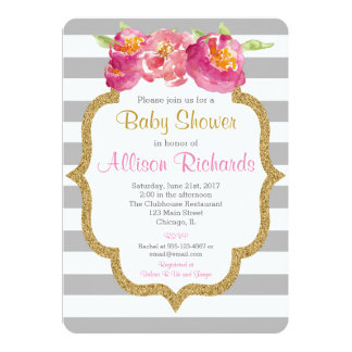 pink grey white stripes baby shower invitation