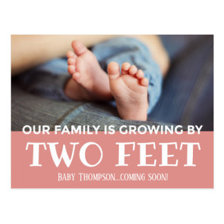 Pink Growing by Two Feet Stripes Adoption New Baby Postcard
