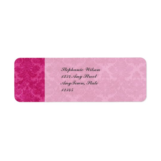 Pink Grunge Damask Return Address Label