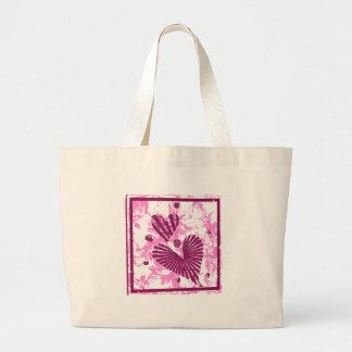 Pink Grunge Hearts Tote Bag