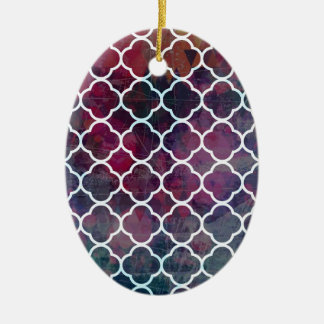 Pink Grunge Moroccan Style Ceramic Ornament