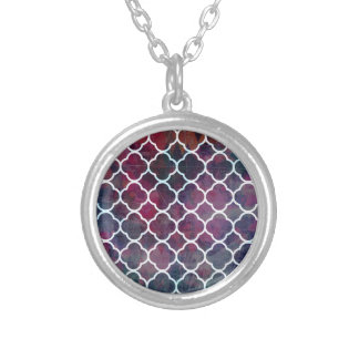 Pink Grunge Moroccan Style Silver Plated Necklace