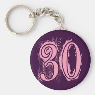 Pink Grunge Style Number 30 Basic Round Button Keychain