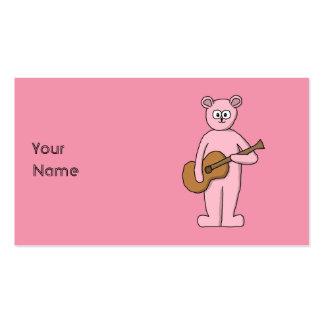 Pink Guitarist Bear Cartoon. Business Card Template