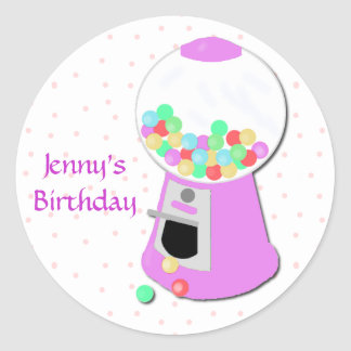 Pink Gumball Machine Party Sticker