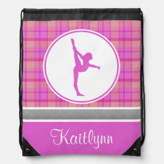 Pink Gymnastics Sweetheart Plaid w/ Monogram Drawstring Bag
