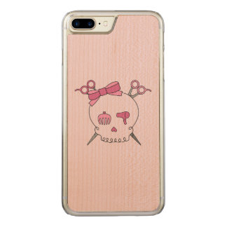 Pink Hair Accessory Skull -Scissor Crossbones #2 Carved iPhone 7 Plus Case