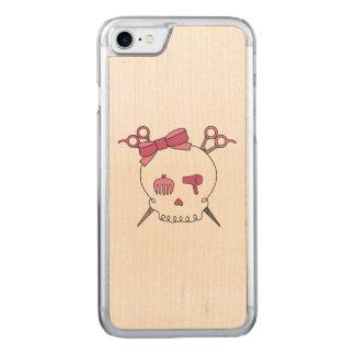 Pink Hair Accessory Skull -Scissor Crossbones Carved iPhone 7 Case