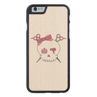Pink Hair Accessory Skull -Scissor Crossbones Carved® Maple iPhone 6 Slim Case