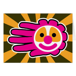 Pink Hair Clown Face Hand Card