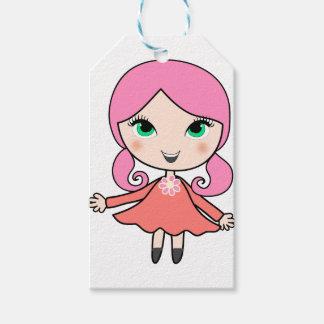 Pink hair girl cartoon art gift tags