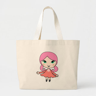 Pink hair girl cartoon art large tote bag