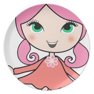Pink hair girl cartoon art plate