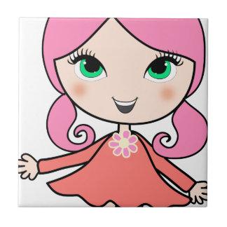 Pink hair girl cartoon art tile