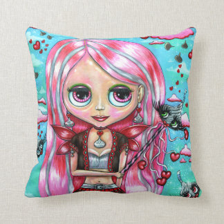 Pink Hair Kiss Fairy Girl Chocolate Hearts Throw Pillow