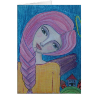 Pink Haired Angel Blank Card