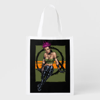 Pink Haired Punk Rock Alternative Girl by Al Rio Reusable Grocery Bags