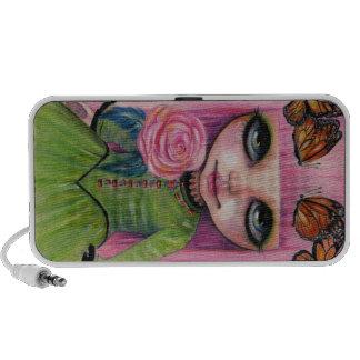 Pink haired Rose Blythe doll fan art Laptop Speaker