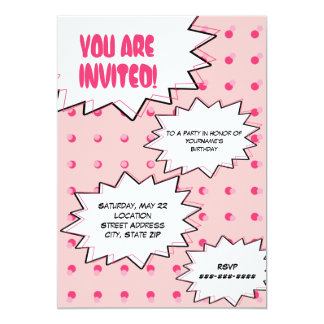"Pink Halftone Pop Art Comic Inspired Birthday 5"" X 7"" Invitation Card"