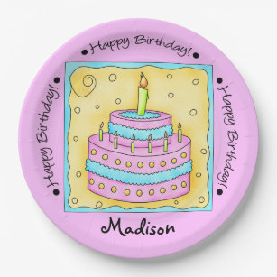 Pink Happy 1st Birthday Cake Name Personalized Paper Plate