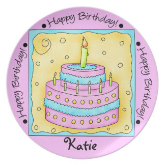 Pink Happy 1st Birthday Cake Plate