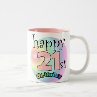 Pink Happy 21st Birthday Two-Tone Coffee Mug