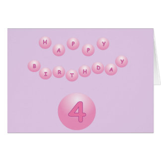 Pink Happy Birthday Balls Age 4 with Editable Text Card