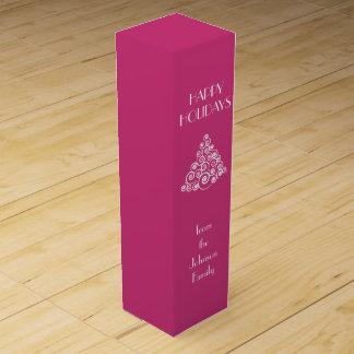 Pink HAPPY HOLIDAYS Christmas Tree Message Wine Gift Box