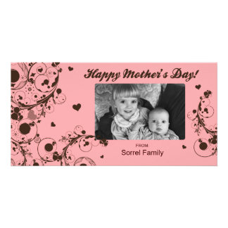 Pink Happy Mother s Day Photo Card Template