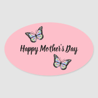 Pink Happy Mother's Day Butterfly Oval Sticker