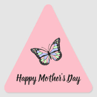 Pink Happy Mother's Day Triangle Sticker