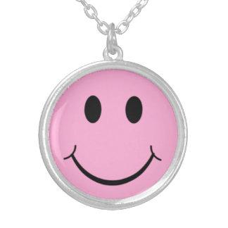 Pink Happy Smiley Face Necklace Pendant Retro 70's