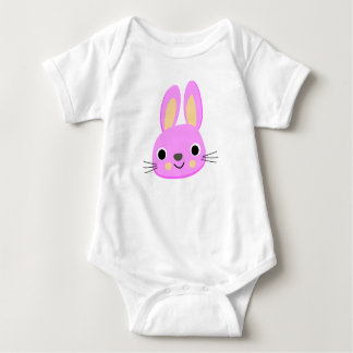 Pink hare baby bodysuit