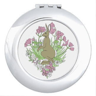 Pink Hare Mirror Compact Travel Mirrors