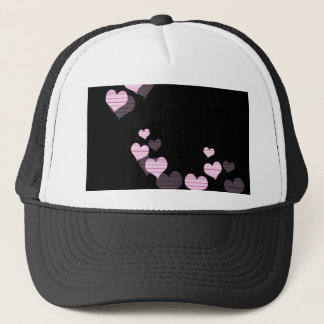 Pink harts pattern trucker hat