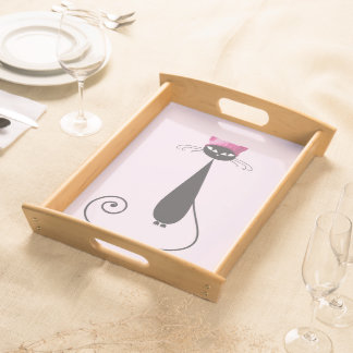 Pink Hat Kitty Cat Serving Tray