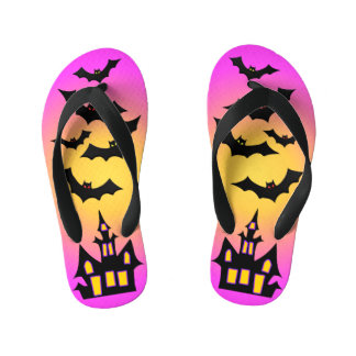 Pink Haunted House and Bats Kid's Flip Flops
