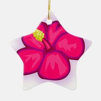 Pink Hawaii Flower Ceramic Ornament