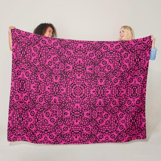Pink Hawaiian Sea Turtles Satin Foulard Mandala Fleece Blanket