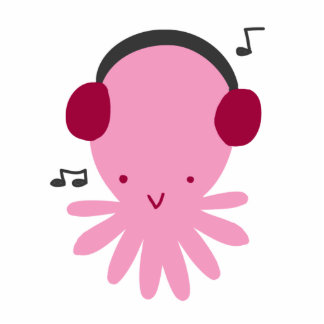 Pink Headphones Octopus Standing Photo Sculpture