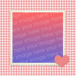 Pink Heart and Gingham Photosculpture Template Acrylic Cut Out