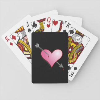 Pink Heart Arrow Black Playing Cards