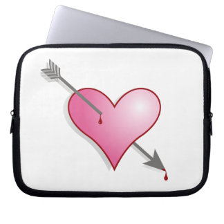 Pink Heart Arrow  Neoprene Laptop Sleeve 10 inch